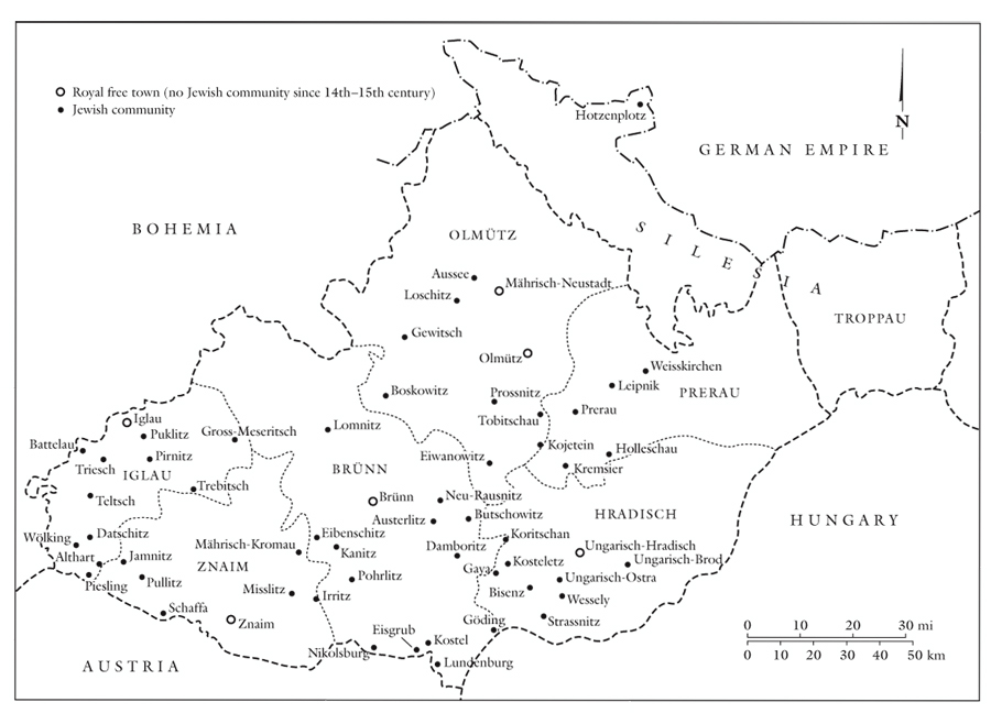 Moravia's fifty-two Jewish communities, 1798-1848. (Adapted from Hugo Gold, ed., Die Juden und  Judengemeinden Mährens in Vergangeheit und Gegenwart (Brünn: Judischer Buch-und Kunstverlag, 1929.)