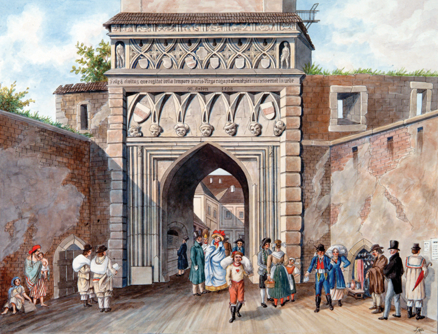 """View of Jews' Gate, Brünn,""  by F. Richter, 1835. (Courtesy of Brno City Archive.)"