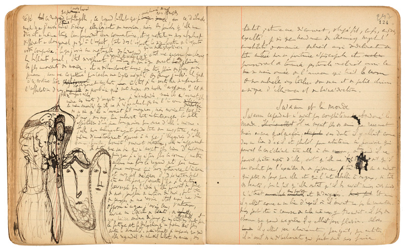 Some of Proust's notes and doodles for Swann's Way. (© Bibliotheque Nationale de France, Dist.  RMN-Grand Palais/Art Resource, NY.)