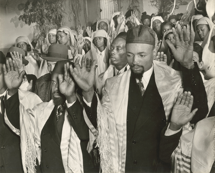 Members of Harlem's Commandment Keepers Congregation of the Living God, the Pillar and Ground of Truth, ca. 1940s. (Photo by Alexander Alland, courtesy of the New-York Historical Society.)