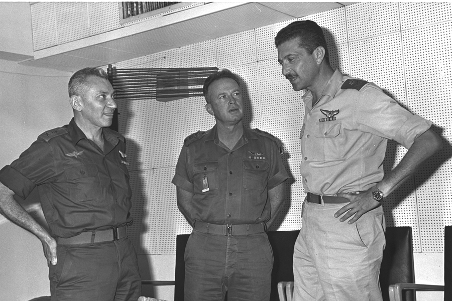Chief of Staff Yitzhak Rabin, center, with Haim Bar-Lev, left, and Ezer Weizman at the General Headquarters in Tel Aviv during the Six-Day War, June 1967. (Photo courtesy of Government Press Office, Israel.)