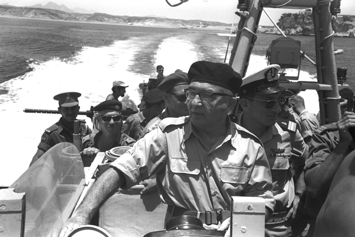 Prime Minister Levi Eshkol and Israel Navy Commander Shlomo Harel on patrol in the Straits of Tiran during the Six-Day War, June 1967. (Photo by Ilan Bruner, courtesy of Government Press Office, Israel.)