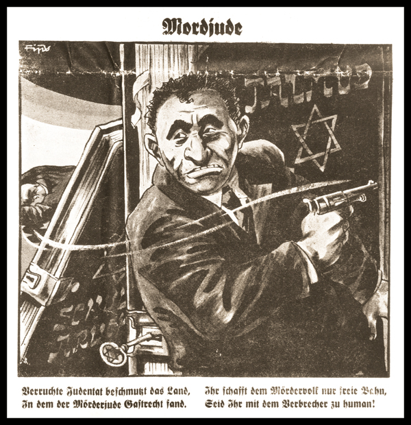 "Caricature of Herschel Grynszpan, the ""Jewish murderer,"" on the front page of the Nazi publication Der Stürmer. (Courtesy of Virginius Dabney, United States Holocaust Memorial Museum.)"