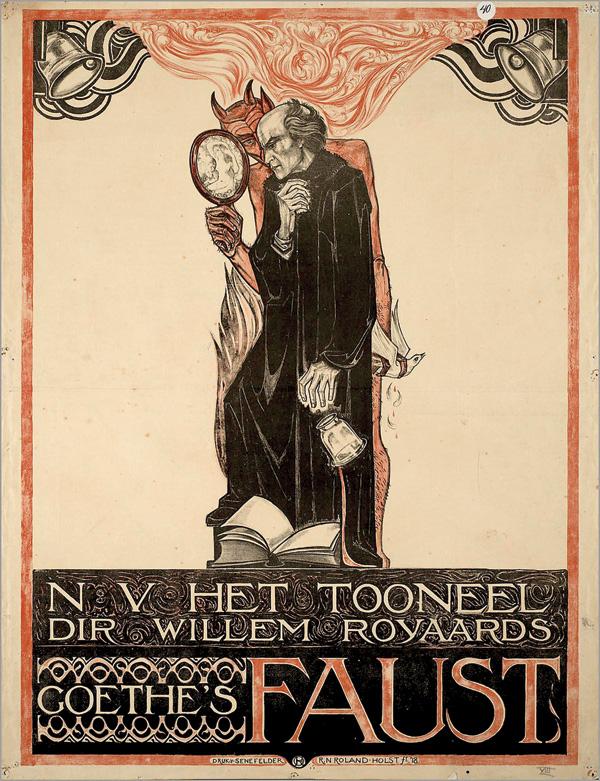 """""""Goethe's Faust,"""" a poster by Richard Roland Holst, 1917.(N. V. Het Tooneel, Amsterdam.)"""
