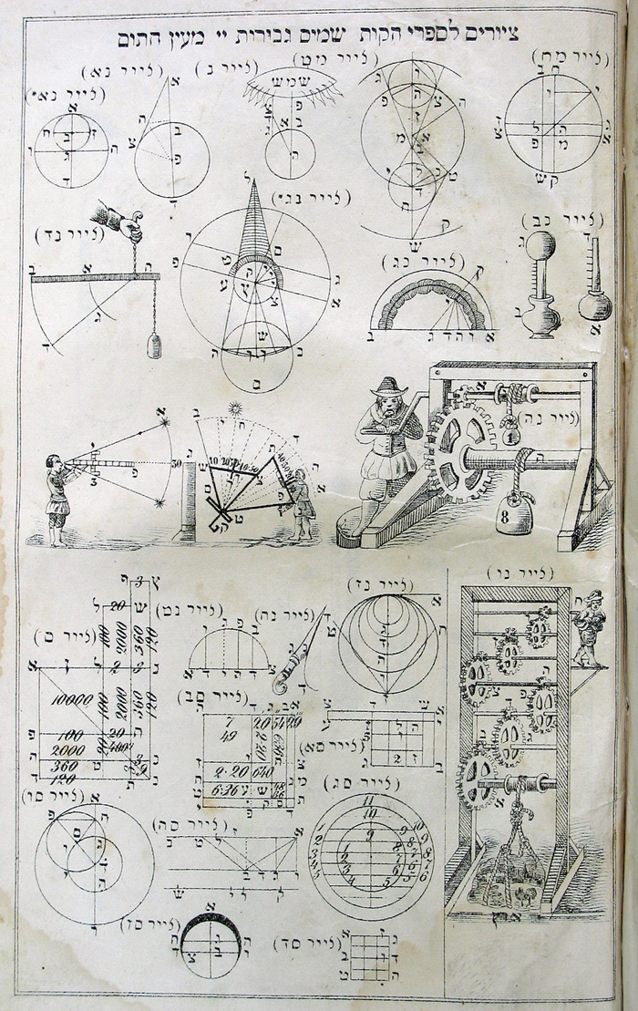From an 1864 printing of Sefer Elim, by Yosef Shelomoh Delmedigo. Originally published in Amsterdam in 1629, it was popular with 18th- and 19th-century maskilic readers for its presentation of early modern science and mathematics. (Courtesy of The Library of the Jewish Theological Seminary.)